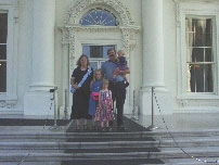 The James family on the steps of the Whitehouse